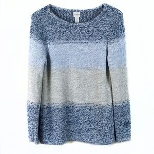 Chico's Color Block Sweater Blue with Gold Threads